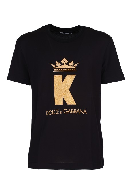 Shop DOLCE & GABBANA  T-shirt: Dolce&Gabbana T-shirt in cotone con patch King e Logo. Girocollo. Maniche corte. Patch King e Logo Dolce & Gabbana. Regular fit. Composizione: 100% cotone. Made in Italy.. G8KD0Z G7SUR-N0000