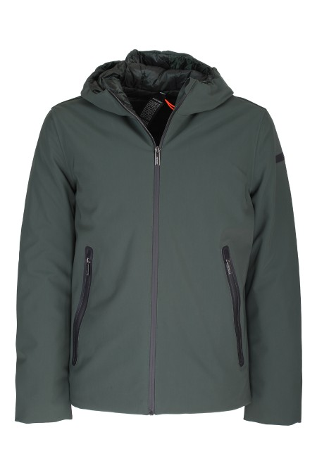 Shop RRD  Giaccone: RRD padded jacket with hood. Long sleeves. Front zip closure. Side pockets with zip. Short cut. Non-removable fixed hood. Composition: 100% polyamide. Filling: 100% goose feather.. W19001-20