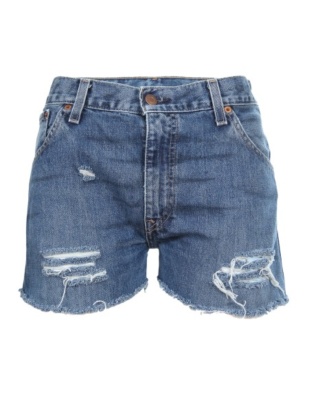 "Shop CHIARA FERRAGNI  Short: Chiara Ferragni shorts in denim. Stampa posteriore "" i'm over flirting "". Aspetto vissuto e strappati. Made in Italy.. CFS 013-D"