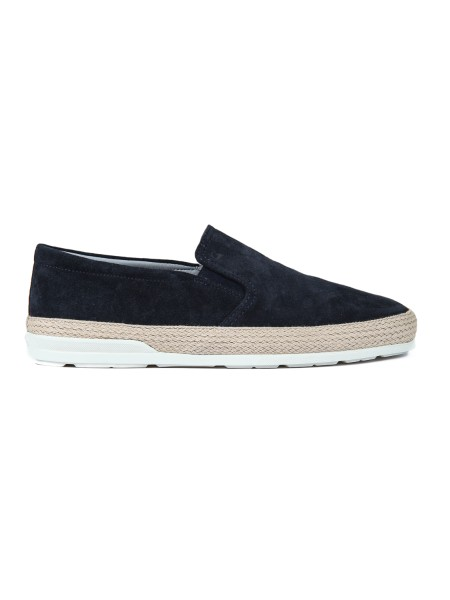Shop HOGAN Saldi Scarpe: Hogan slip-on H358 in suede blu.  Logo Hogan impresso. Tomaia in suede. Dettaglio in corda. Suola in gomma. Custodia in tessuto inclusa. Made in Italy.. HXM3580AE50HG0-U805