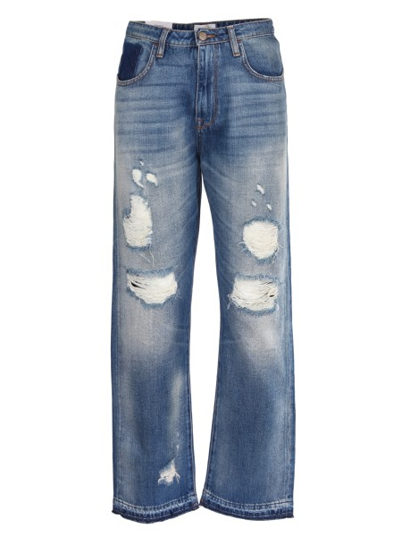 Shop ROY ROGER'S  Jeans: Roy Roger's jeans in cotone. Vita alta. Gamba a zampa. Con strappi. Composizione: 100% cotone. Made in Italy.. TALL WOMAN-D