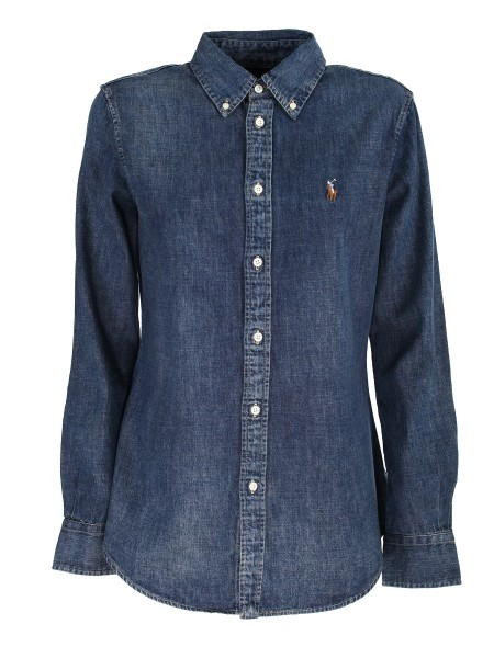Shop RALPH LAUREN  Camicia: Ralph Lauren camicia in denim in cotone. Maniche lunghe con polsini con bottoni. Collo button-down. Abbottonatura con cacconcino. Esclusivo pony ricamato sul petto. Custom-fit. Composizione: 100% cotone.. 211 594681-001BLAINE WASH