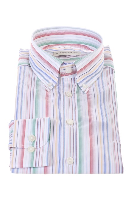 Shop ETRO  Camicia: Etro camicia con motivo a righe. Colletto button down. Maniche lunghe con polsini con bottoni. Abbottonatura frontale. Regular fit. Composizione: 100% cotone. Made in Italy.. 1K964-6107 8000
