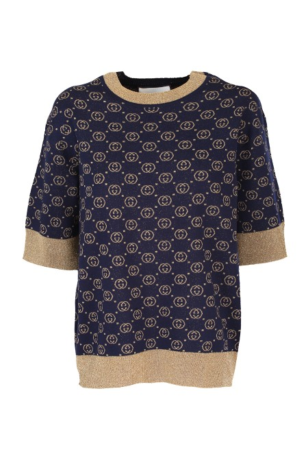 Shop GUCCI  Pull: Gucci top in lana con GG lamé color blu e oro. Girocollo. Maniche corte. Finiture in maglia lamé color oro. Vestibilità ampia. Composizione: 100% lana. Made in Italy.. 605920 XKAHT-4597BLU/ORO