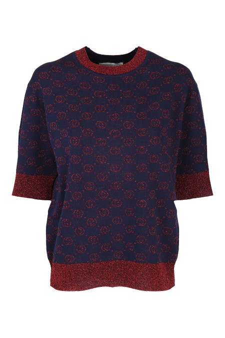 Shop GUCCI  Pull: Gucci top in lana con GG lamé color blu e rosso. Girocollo. Maniche corte. Finiture in maglia lamé color rosso. Vestibilità ampia. Composizione: 100% lana. Made in Italy.. 605920 XKAHT-4668BLU/ROSSO