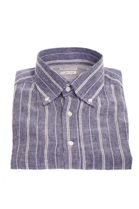 Shop BRUNELLO CUCINELLI  Camicia: Brunello Cucinelli camicia basic fit in lino rigato con colletto button down. Maniche lunghe con polsini con bottone. Basic fit. Composizione: 95% lino 5% poliestere. Made in Italy.. MW6550038-C001