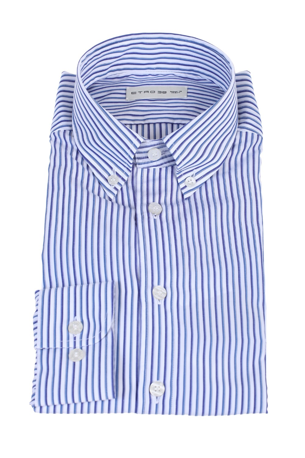 shop ETRO  Camicia: Etro camicia in cotone a righe verticali. Colletto button down. Polsino con due bottoni orizzontali per regolarne l'ampiezza. Logo frontale a contrasto. Vestibilità leggermente slim. Composizione: 100% cotone. Made in Italy.. 1K964 3326-0200 number 8844314